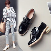 Women's Shiny Patent leather Brogues Round Toe Chunky Heel Casual Shoes Lace up