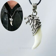 Mens Boys Punk Brave Man Wolf Tooth Pendant Necklace Titanium Steel Domineering