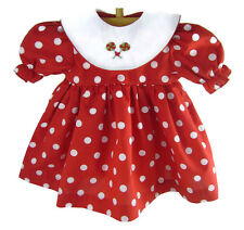 Valentine Red Polka Dot Dress Embroidered Lollipops for Bitty Baby + Twins Dolls