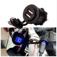 12V 2 Dual USB Port Car Motorcycle Cigarette Lighter Socket Charger Waterproof