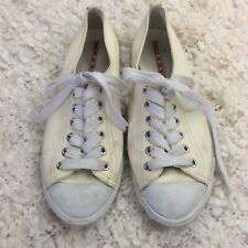 EUC PRADA Sneakers Lace up Leather White Ivory  Size 38 Italy