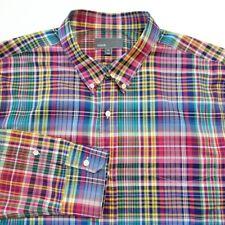 VINCE Men's Button Front Shirt Size 2XL Plaid checks Cotton Long Sleeve