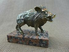 Wild boar brass statue, perfect for the gift, hunting, home art, collector