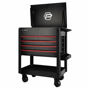 Powerbuilt 31 in. 5-Drawer Rolling Tool Box Cart 18 Gauge with 5 in. Casters