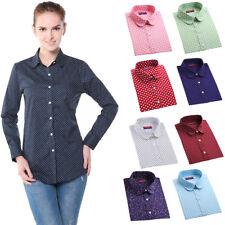 Women Polka Dot Print Blouse Long Sleeve Casual Cotton Button Down Autumn Shirts