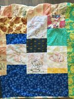 Handmade Quilt Lap Small Embroidered Retro Vintage Style Fabric Elephants Baby