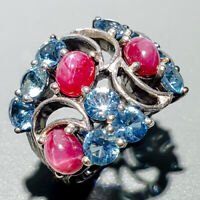 Unique Fine Art Natural Star Ruby 925 Sterling Silver Ring Size 9/R123835