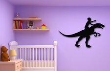 Wall Stickers Vinyl Decal Boy Riding a Dinosaur for Kids Room Nursery (ig804)