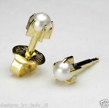 MAXI Gold Ear Piercing Studex Earrings 5mm Pearl Pronged Gem Hypoallergenic