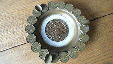Vintage Mexican Brass Ashtray, Mayan Calender and Coins