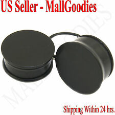 "0943 Black Acrylic Single Flare Ear Plugs 1"" Inch 25mm MallGoodies One 1 Pair"