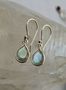 315f Labradorite Solid 925 Sterling Silver Faceted Gemstone Earring rrp$49.95