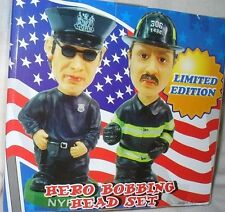 9-11 9/11  NYPD FDNY Hero BOBBLE HEAD ~ LTD ED Fireman Policeman Figure 2 PC SET