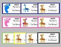 10 Baby Shower Personalized Name Tags - Self Adhesive