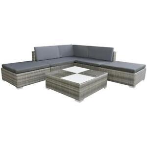 vidaXL Gartensofa 6-tlg. Poly Rattan Grau Sitzgruppe Lounge Gartenmöbel Set.