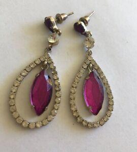 Vintage old Hollywood rhinestone Pear drop earrings 50s  Long