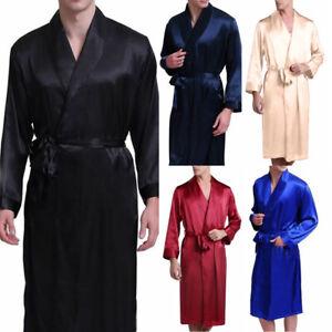 Mens Satin Silk Kimono Dressing Gown Robe Pajamas Nightwear Sleepwear Bathrobe