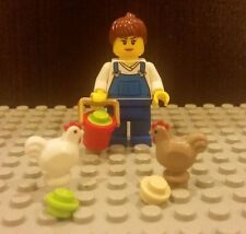 Lego NEW Female Girl Farmer Worker Minifigure With 2x Chicken And Bucket