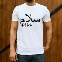 Salam Peace Arabic T shirt Islamic Muslim Greeting Eid Mens Unisex Tee S - XXL