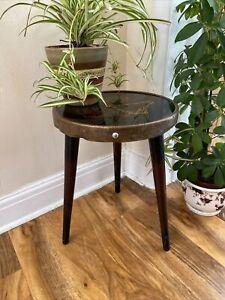 Vintage Retro Copper Black Glass Side Plant Coffee Table Atomic Legs Karina Dam