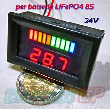 INDICATORE DI CARICA VOLTMETRO per batterie LiFePO4 24V LED bici elettrica ebike