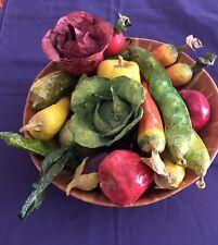 Vintage Paper Mache Vegetables Folk Art Decor 22 Pieces with Bowl