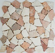 MOSAIC tile marble natural stone red beige fracture Ciot Rosso 44-1002_f|10sheet