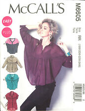 6605 MCCALLS Misses Womens PLUS Oversize Top Tunic Yoked Shape Pattern UC 18-24W