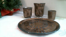 mosaic brown bronze glass CANDLE HOLDER - VASES & PLATE LOT
