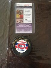 Boom Boom Geoffrion Montreal Autograph Puck JSA Authenicated