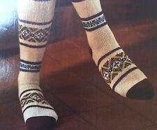 KNITTING PATTERN Ladies Long Knee Fair Isle Design Socks Artesano PATTERN