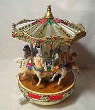 Vtg Mr Christmas Metallic Holiday Go Round Musical Carousel Original Classics