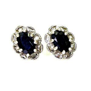 9ct 9k Gold Sapphire Diamond Cluster Stud Earrings