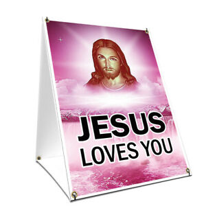 A-frame Sidewalk Sign Jesus Loves You With Graphics On Each Side