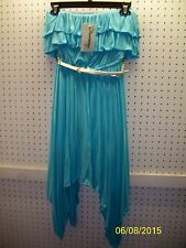 Olsenboye Jr Size XS Aqua Strapless Asymmetrical Belted Dress FREE Shpg NWTA