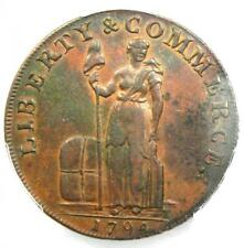 1794 Talbot, Allum and Lee Mule Halfpenny Stork Liverpool Coin - Pcgs Au Details
