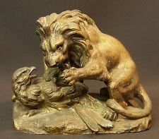 A 19ème bronze animalier 2.3kg rare statuette statue combat Lion aigle Barye