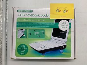 USB Notebook / Netbook Cooler Fan Pad with Blue LED Light - Boxed