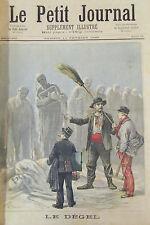 LE DEGEL STATUES DE GLACE MINISTRES HOMMES POLITIQUE  GRAVURE PETIT JOURNAL 1893