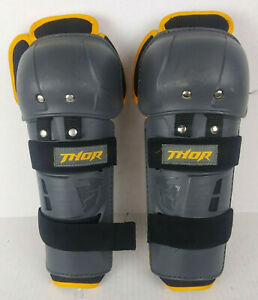 Thor Sector GP MX ATV Enduro Motocross Knee Guards Adult Black w/Yellow Stripe