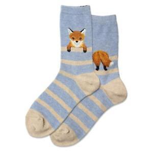 Fuzzy Fox Hot Sox Women's Crew Socks Blue Heather New Novelty Stripe Fashion