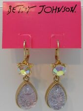 Betsey Johnson Stargazer Star & Cloud Cabochon Tear Drop Leverback Earrings