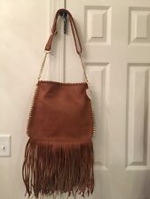 Crossbody Purse Cognac Style 9078.  FRINGED.  NEW WITH TAGS