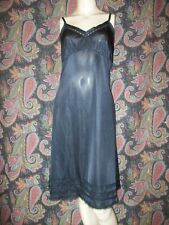 Vintage Black Silky Nylon Empire Plus Slip Nighty Lingerie 40