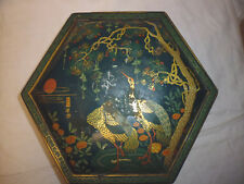 ancien grand boite métal emaillé bombé japonisant miroir deco brocante Art Déco