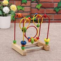 Wooden Wire Around Beads Maze Kids Children Math Educational Learning Toy Gifts