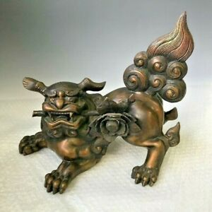 Flower LION Shishi Bronze Statue 14.1 inch Wide by KYOKUHOU Japanese Antique Art