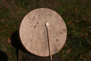 Schamanen Trommel 46cm Damhirschfell mit Hörprobe - Shaman Drum Fallow Deer hide
