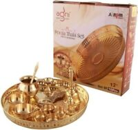 Puja Accessories Copper Pooja Thali Festival Set 13 Inch Home Temple Accessories