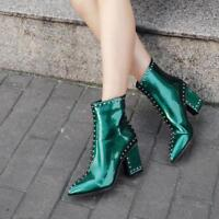 Shiny Leather Womens Rivets Studded Pointy Toe Shoes Block Heel High Ankle Boots